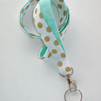 Lanyard  ID Badge Holder - metallic gold polka dots on white - aqua or mint  - Lobster clasp and key ring