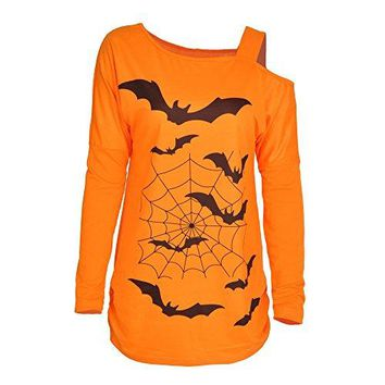 TINHAO Halloween Womens Casual Long Sleeve One Shoulder Strap Bat Pattern Tunic Blouse