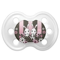 Cute Bunnies Pacifiers for Baby Girls: Gift Idea for Twin Girls Baby Shower, Birthday or Easter