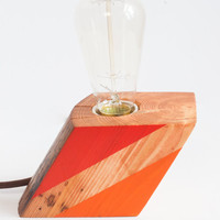 Reclaimed wood lamp - unique and simple minimalist, industrial home decor, gift for housewarming, birthday, as table, desk or bedside lamp