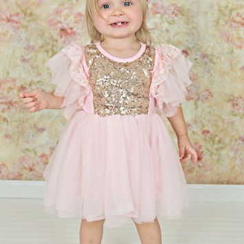 Sparkle Ballet Dress Light Pink & Gold Sequins
