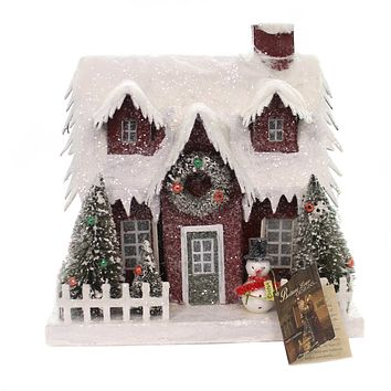 Christmas VINTAGE PUTZ CHRISTMAS HOUSE LG Paper Lighted Lc4591 Red
