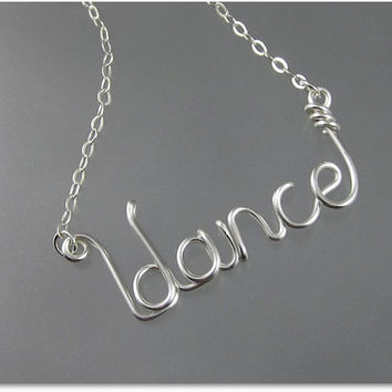 FREE SHIPPING!!!  dance Wire Word Pendant Necklace