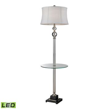 D2310-LED Crystal LED Floor Lamp With Glass Tray And Pure White Textured Linen Shade - Free Shipping!