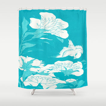 Japanese flowers.  Shower Curtain by PureVintageLove