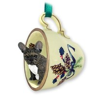 French Bulldog Green Holiday Tea Cup Dog Ornament