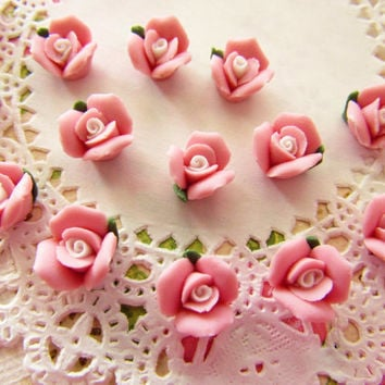 Vintage Pink Rose Bisque Porcelain Cabochons Ceramic Flowers 9mm - 4