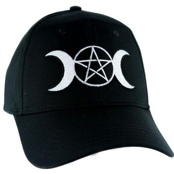 ac spbest Triple Goddess Wicca Moon Pentagram Hat Baseball Cap Alternative Pagan Clothing Witchcraft