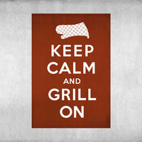Keep Calm and Grill On BBQ Vintage Inspired 8x10 Poster Print - Perfect for dad on father's day by Caramel Expressions
