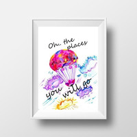 Printable Hot air balloon Wall Art Dr Seuss inspirational quote nursery decor print watercolor kids poster travel balloon picture 8x10 5x7