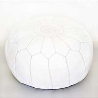 Moroccan Leather Pouf - White - furniture - house & home