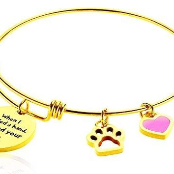 Borivilla Inspirational Wire Bangle Paw Print Charm Adjustable Expandable Bracelet Women Girl When I Needed A Hand I Found Your Paw Dog Lover Gift