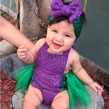 Infant Baby Girl Little Mermaid Sequin Tulle Bodysuit Cute Sleeveless Jumpsuit Outfit Set Summer