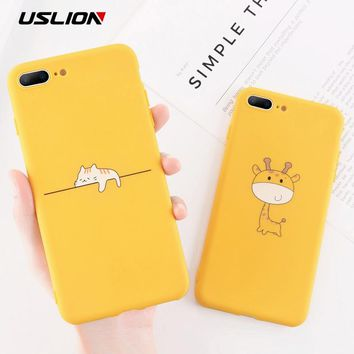 USLION Funny Cartoon Giraffe Phone Case For iPhone 7 8 Plus TPU Silicone Back Cover for iPhone X XR XS Max 6 6S Plus Soft Cases