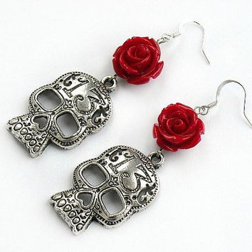 Day of the Dead Earrings Day of the Dead Skull by InkandRoses13