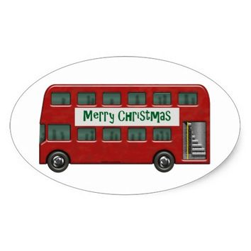Merry Christmas Red Double-Decker Bus Oval Sticker