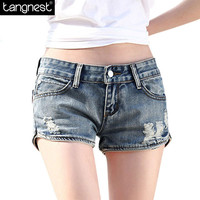 TANGNEST Summer Vintage Mini Denim SHORTS Women 2016 Sexy Worn-out Jean Hotpants With Hole Bermuda Distressed Short Pants WKD351