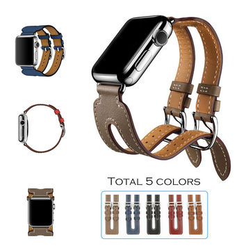 Double Buckle Cuff  Leather Strap for Apple Watch 38mm / 42mm
