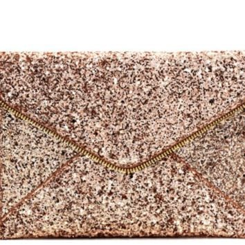 Allover Glitter Accent Envelope Clutch