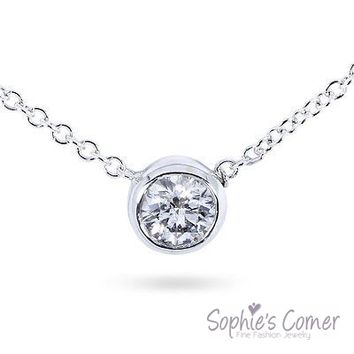 1/2 ct. Created Diamond Bezel Solitaire Pendant Necklace