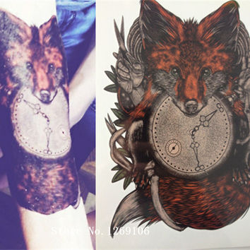 2016 21 X 15 CM Fox and clock Sexy Cool Beauty Tattoo Waterproof Hot Temporary Tattoo Stickers#124