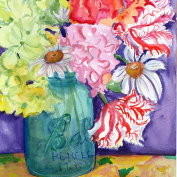 Colorful flowers in Blue Ball aka  Mason Jar watercolor painting, Original ART