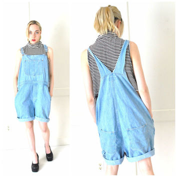 plus size OVERALLS vintage 90s GRUNGE pale CHAMBRAY denim shortalls overall shorts large