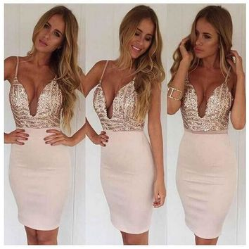 CUTE SEQUINS DEEP V STRAPS DRESS