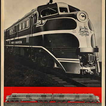 "c.1930s ""Diesel Power- New Haven Railway Railroad"" Travel Poster-Antique-Old-Vintage Reproduction Photograph/Photo: Gicclee Print. Frame it!"