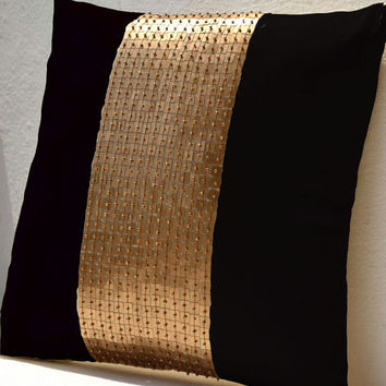 Memorial Day SALE Throw Pillows - Black gold color block in silk and sequin bead detail cushion - sequin bead pillow - 18X18 black pillow -