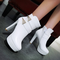 Ankle Boots for Women Platform High Heels Rhinestone Pu Leather Autumn Winter Shoes Woman 6809