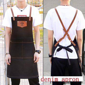 New fashion denim aprons Cortex apron for the kitchen unisex Work delantal bartender pinafore bib pocket gift for man