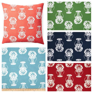 Lobster Print Beach Theme Decorative Pillow Cover - Available In 3 Sizes and Five Colors