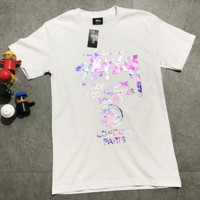 Stussy Fashion Colorful Starry Sky Print Short Sleeve Pure Cotton Casual Tee Top