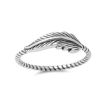 Sterling Silver Beaded Band Antiqued Feather Ring