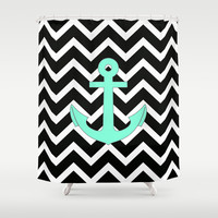 Tiffany Turquoise Anchor Black Zigzag Pattern Shower Curtain by RexLambo