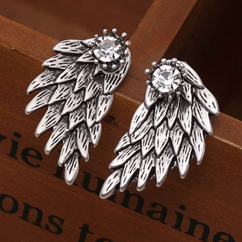 New Fashion Upscale Women Gothic Cool Jewelry Angel Wings Crystal Crown Inlaid Alloy Piercing Stud Earrings boucle d'oreille E38