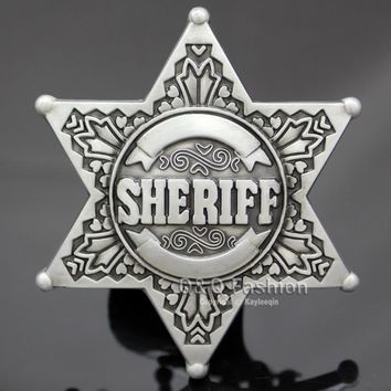 New Vintage Silver Western Texas Sheriff Ranger Cop Star Badge Rodeo Belt Buckle Men`s Gift