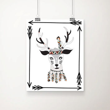Tribal Deer Art Print - Children's Wall Art - Nursery Art  - Tribal Decor - Deer Art