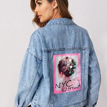 Figure Patched Back Denim Jacket