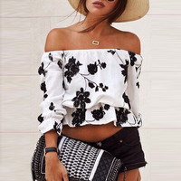 White Floral Print Off-Shoulder Long Sleeve Cropped Top