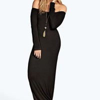 Annabella Back Split Slash Neck Maxi Dress