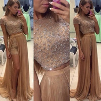 Luxury Two 2 Piece Prom Dresses With Detachable Train Short Sleeve Crystal Beading Long Prom Party Gown Vestido longo