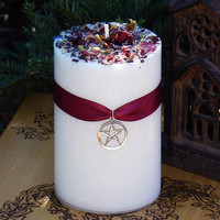 White Magick . Alchemy Candle 2x3 . Transcendental White Magic, Goddess, White Light, Loving Positive Energy, Healing, Spirituality