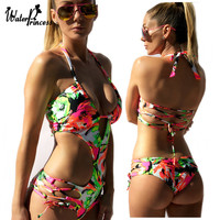 Floral Print Sexy Sennit Bandage Pad Bra One Piece Women Swimwears Monokini Thong Trikini Cut Out Wrap Top Swimsuit Bathing Suit