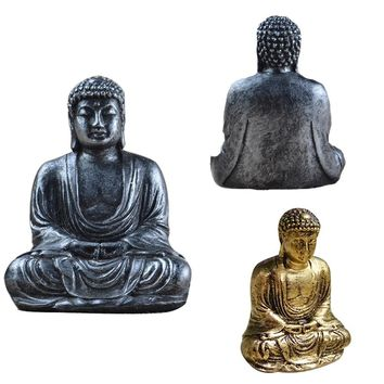 Resin Imitation Bronze Buddha Statue Sculpture Meditating Antique Style Home Decor Ornament Feng Shui
