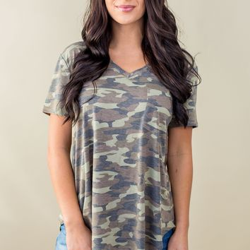 Grace & Lace Perfect Pocket Tee- Camo