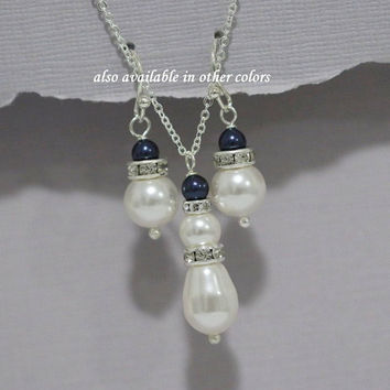 Navy Jewelry Set, Swarovski White and Night Blue (Navy) Pear Pearl Necklace, Bridesmaid Gift, Bridesmaid Jewelry