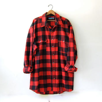 Vintage super oversized red checkered boyfriend flannel / Grunge lumberjack shirt / men's 3XLT