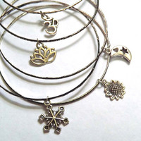 Silver Toned Gypsy Bangle Bracelet with one Charm Lotus Om Snowflake Sunflower or Moon